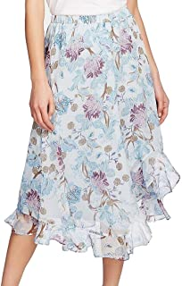 Vince Camuto Womens Poetic Blooms Floral Asymmetric Maxi Skirt Blue L