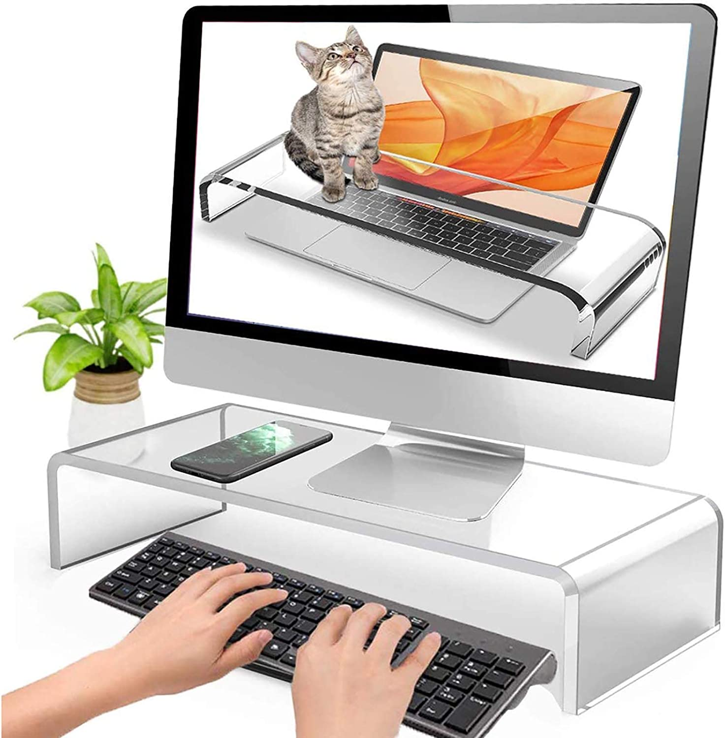 ZZJCY Clear Acrylic Keyboard Cover with Sturdy, Computer Monitor Riser Stand, Protector for Desktop Laptop Keyboard Printer PC Storage(Hold Up to 22Lbs),0.2in,19.7x6.7x3.9 in
