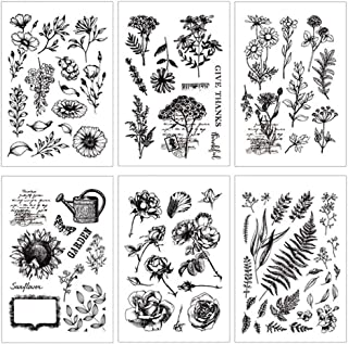 6Pcs Clear Silicone Stamps Sheet Cling Scrapbooking Stamp Wedding Party Invitations Scrapbook DIY Craft Stamp Flower Leaves Design Hand Made Stamps Photo Album Card Making Decorative Stamp