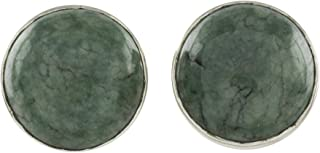 NOVICA Light Green Jade and .925 Sterling Silver Round Stud Earrings, Harmonious Peace' (10mm)