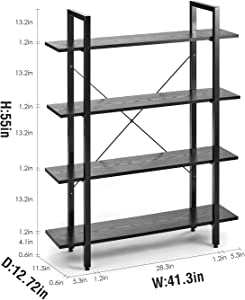 ORAF Bookshelf 4 Tier Rustic Wood Bookcase, Industrial Style 70lbs High Weight Load Sturdy Bookshelf with Metal Frame, Easy to Assemble Large Storage Organizer, Wood-Grain Black