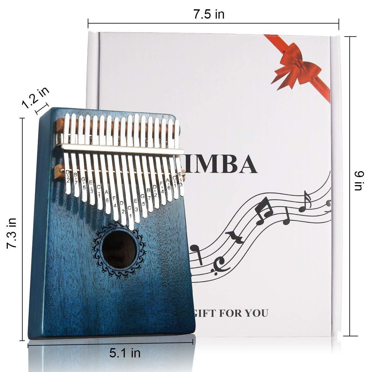 Kalimba 17 Key Thumb Piano with Mahogany Wood Portable Mbira Finger Piano Gifts for Kids and Piano Beginners Professional (Blue)