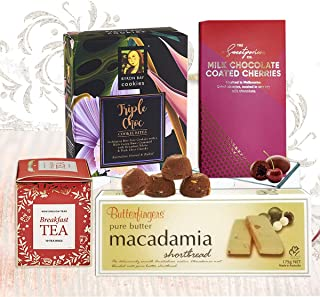Gourmet Morning Tea & Biscuits Gift Hamper for Him, Her & Family - English and Australian Food Gifts with Cherry Chocolate...