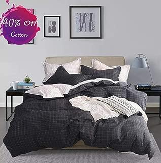 karever Plaid Duvet Cover Set Queen Boys Black and White Cotton Bedding Full Small Grid Lattice Comforter Cover for Teen Boy Men
