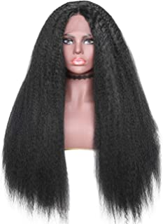 """Buladou Hair Kinkys Straight Synthetic Hair Wigs 26 Inch Lace Front Heat Resistant Wigs for Black Women Long High Temperature Wig with 5"""" Deep Parting Space (Black)"""