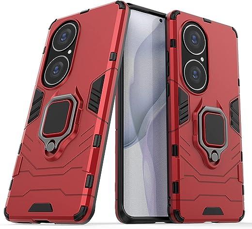 جراب TenDll لهاتف Huawei P50 Pro، جراب مدرعي هجين من البولي يوريثان اللدن بالحرارة والبولي كربونات قابل للإزالة 2 في 1، جراب بمسند مدمج، غطاء لهاتف Huawei P50 Pro - أحمر