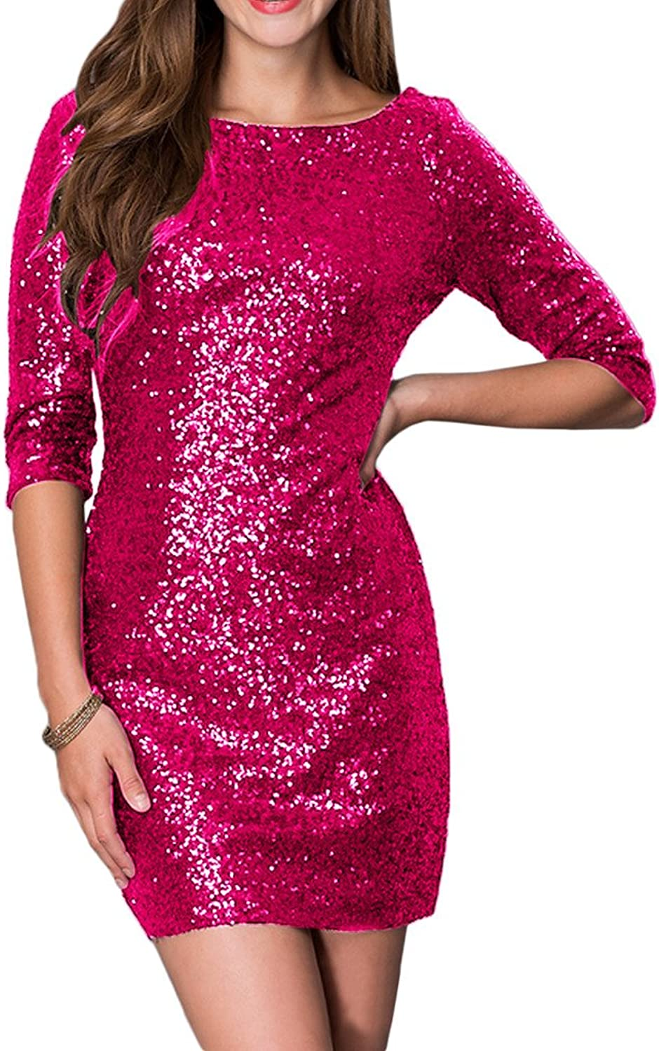 Avril Dress Sexy Sequins Sheath Mini Cocktail Prom Dress Scoop Half Sleeves