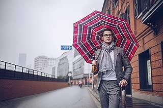 BOY-German Premium Umbrella, Large Travel Umbrella Maple Wood Handle Auto Open Windproof Fast Dry Vented Folding Golf Umbrella
