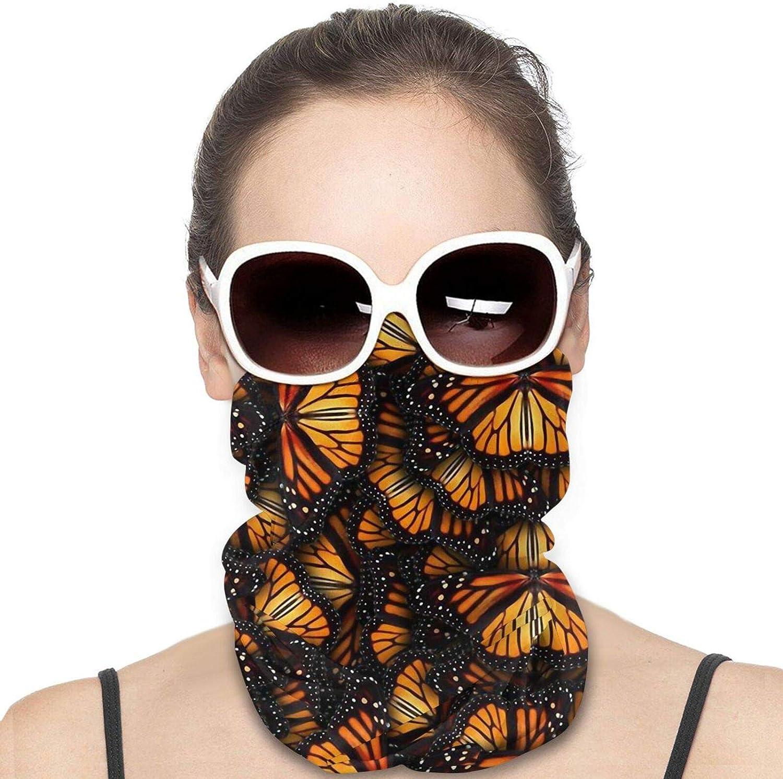 Heaps of Orange Monarch Butterflies Neck Gaiter Windproof Face Cover Balaclava Outdoors Magic Scarf Headband for Men Women Motorcycling Fishing Running Climbing