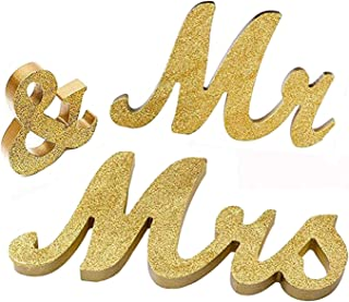 iShyan Mr & Mrs Sign Wedding Wooden Letters Free Standing for Wedding Sweetheart Head Table Decor,Gold
