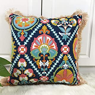PINGS Cojín Floral Cove Funda de Almohada de Bordado étnico Colorido con borlas para sofá Decorativo para el hogar 45x45 cm