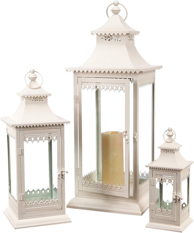 Melpink International Metal and Glass Lantern, Creamy White, Set of 3