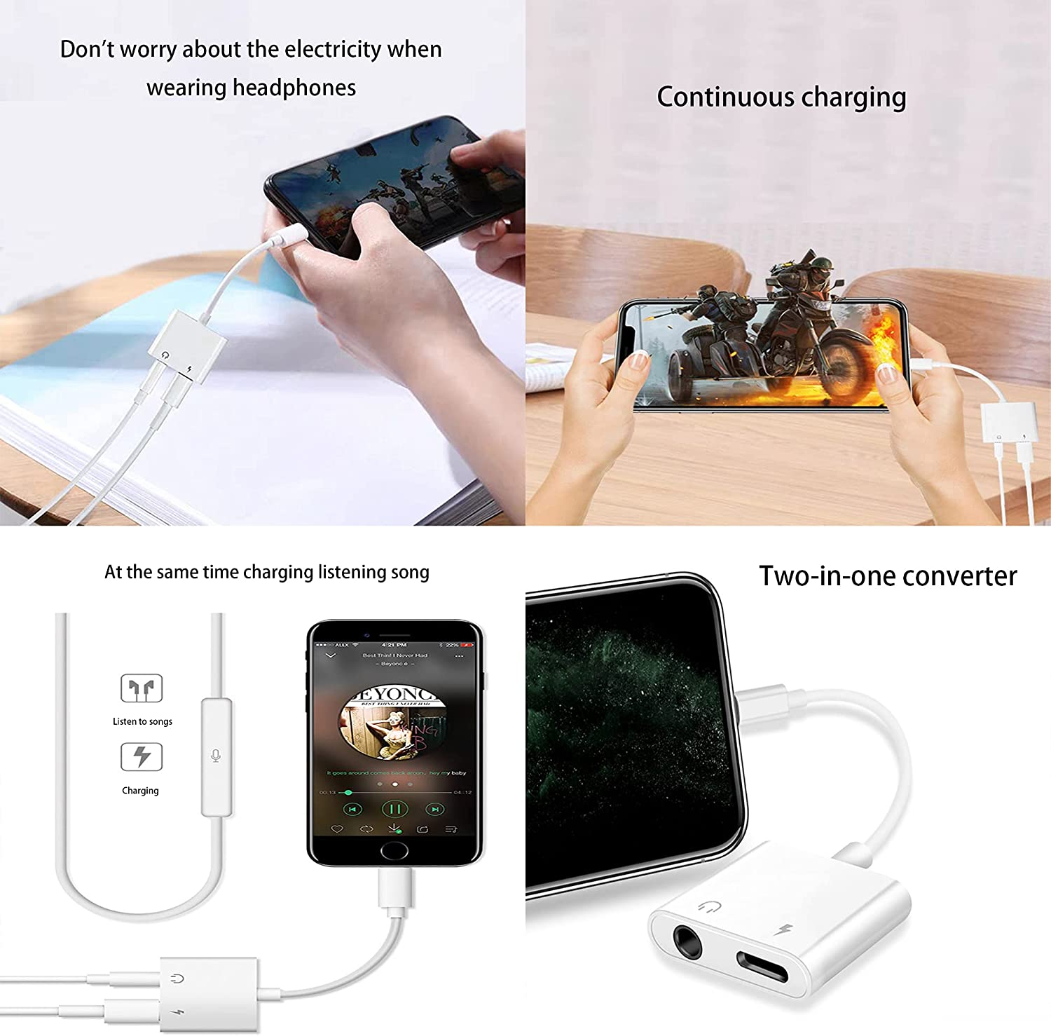 [Apple MFi Certified] iPhone Headphones Adapter Splitter 2 in 1 Lightning to 3.5mm AUX Audio + Charger Splitter Compatible with iPhone 12/11/XS/XR/X 8 7/iPad Support iOS 14 (1 Pack)
