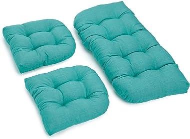 Blazing Needles U-Shaped Solid Spun Polyester Tufted Settee Cushion Set, Set of 3, Aqua Blue