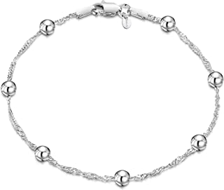 Amberta 925 Sterling Silver 1.4 Singapore Chain Bracelet with 4 mm Ball Beads Size: 7 7.5 inch