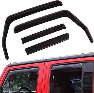 Spurtar Window Visor in-Channel Side Window Deflectors Windshield for 2007-2017 Jeep Wrangler Jk (4-Door) Rain & Wind Guar...