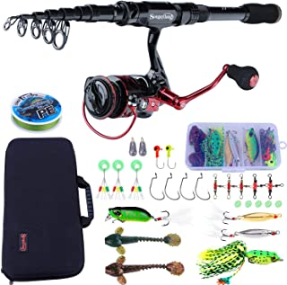 Sougayilang Fishing Rod and Reel Combos Carbon Fiber Telescopic Fishing Rod with Reel Combo Travel Protable Fishing Gear
