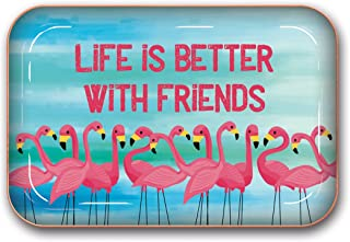 Studio Oh! Medium Metal Catchall Tray Available in 12 Different Designs, Life Is Better with Friends Flamingos