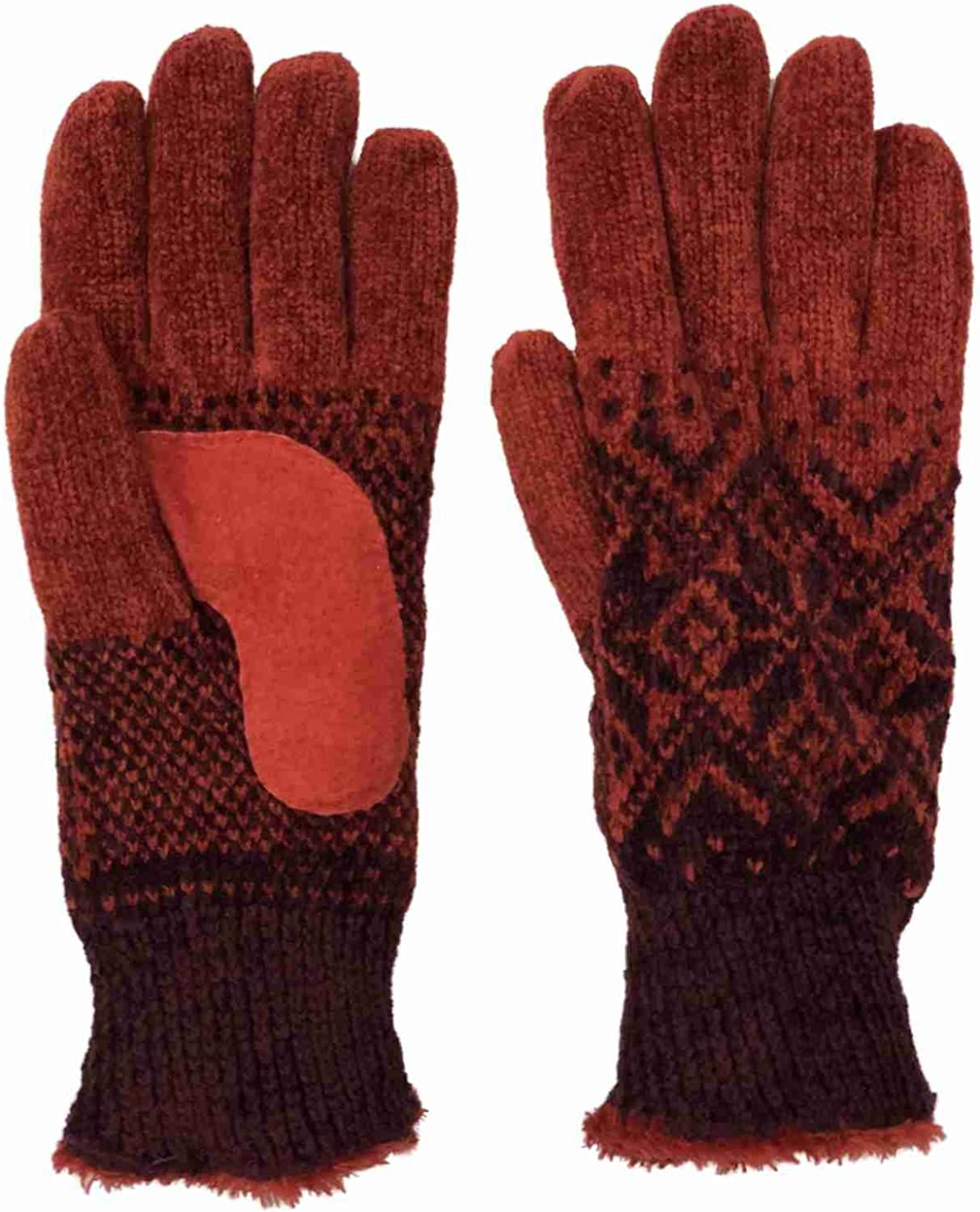 Isotoner Womens Henna Red Snowflake Rayon Chenille Knit Gloves Microplush