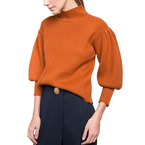 85d72c62820c8 Luxspire Women s Puff Sleeve Turtleneck Loose Pullover Knit Sweater