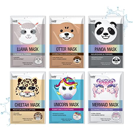 Epielle Character Sheet Masks | Animal Spa Mask | -For All Skin Types |spa gifts for women, Spa Gift, Birthday Party Gift for her kids, Spa Day Party, Girls Night, | Halloween Party Favors | Stocking Stuffers (Assorted Character Mask-6pk A)