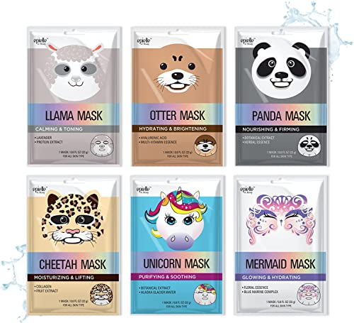 Epielle Character Sheet Masks | Animal Spa Mask | -For All Skin Types |spa gifts for women, Spa Gift, Birthday Party ...