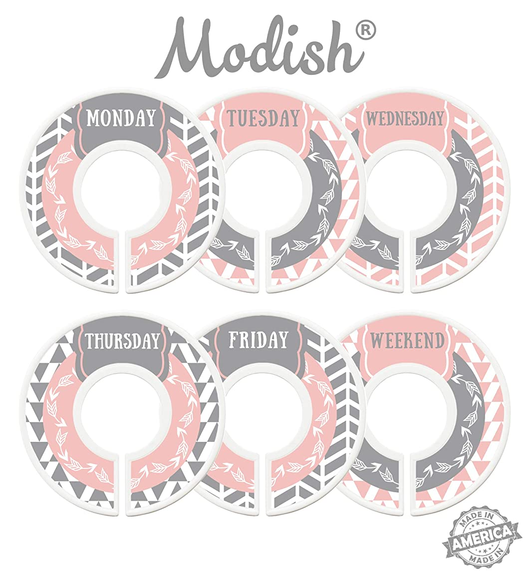 Modish Labels Daily Clothes Organizers, Days of Week Closet Dividers, Closet Organizers, School Supplies, Work Week Clothes Organizer, Girl, Woman, Women, Arrows, Tribal, Pink, Grey, Gray (Days)