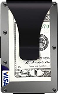 Aluminum Metal Wallet Front Pocket Minimalist Wallet & Money Clip Slim Wallet RFID Blocking (Grey)