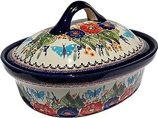 Polish Pottery Oval Casserole Dish From Zaklady Ceramiczne Boleslawiec #1158-149 Art Unikat Signature Pattern, Height: 7.6