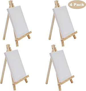 Caballete Portatil con Mini Lienzos - Pack de 4 Caballete 30cm, Lienzos 20x15cm - Mini Tripode Pintura Madera con Lienzo en Blanco Caballete para Pintar para Pinturas al Óleo, Manualidades de Mesa