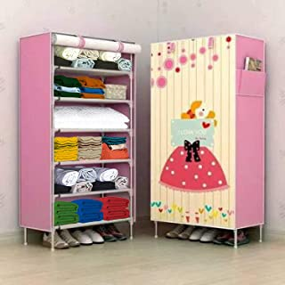 Zofey Wardrobe for Clothes Multipurpose 6 Shelves Clothes Storage (Digital Printed) Panoramic Cabinet (Hopeful-Pink)