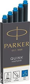 Parker 3016031PP PARKER QUINK Long Fountain Pen Ink Refill Cartridges, Blue, 5 Count