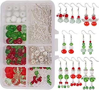SUNNYCLUE 1 Box DIY Make 8 Pairs Christmas Crystal Bead Dangle Earring Making Kits White Snowman Red Angel Glass Bead Xmas Tree Dangle Earrings Jewelry Making Supplies for Women Girls Beginners