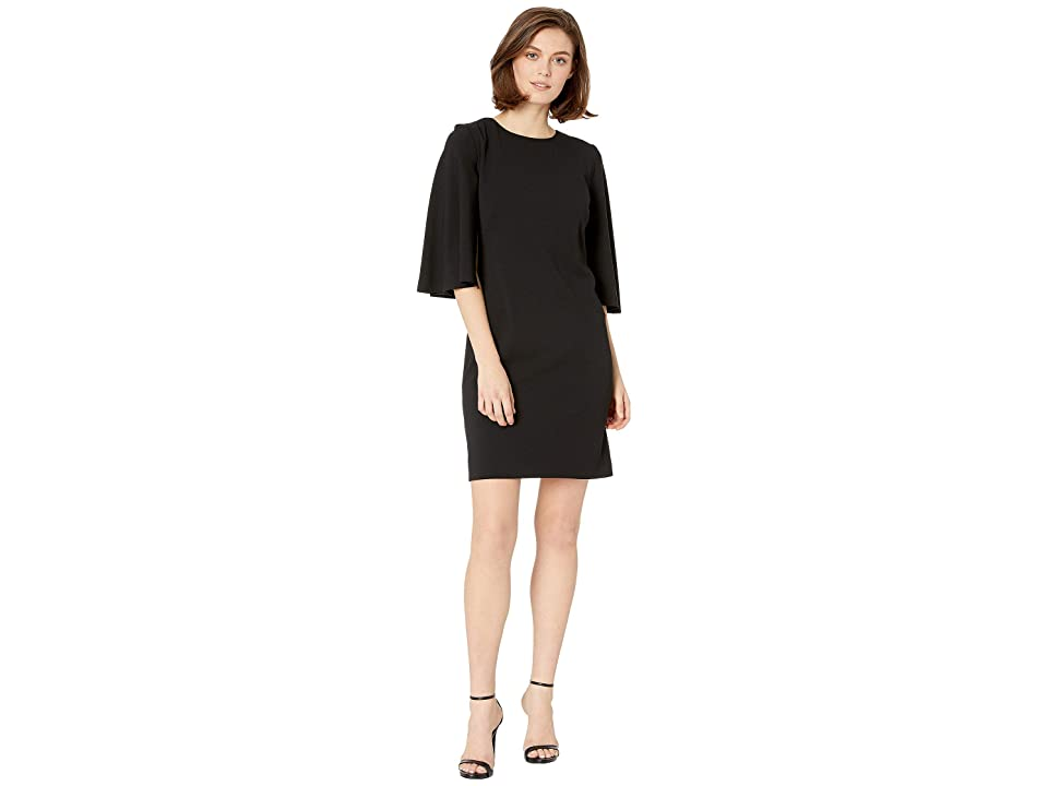 LAUREN Ralph Lauren Marci Crepe Day Dress (Black) Women