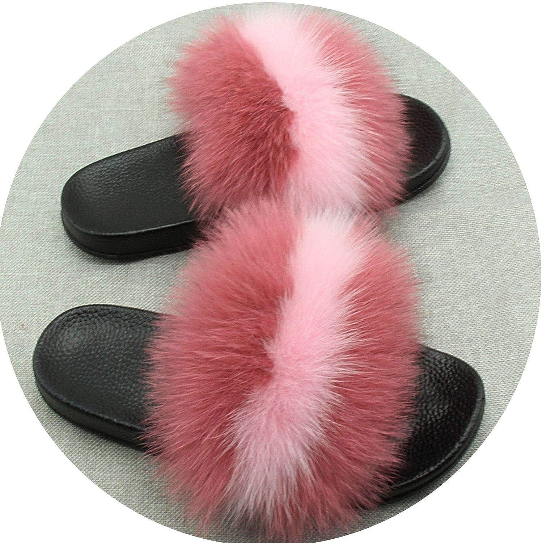 Maggilee Real Fur Slippers Furry Summer Beach Slipper New Women Real Raccoon Fur Monster Slipper JSD,Powder (Black Base),7