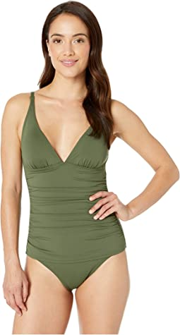 Pearl Over-the-Shoulder V-Neck One-Piece Swimsuit