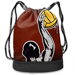 Address Verb Drawstring Backpack with Pocket Multifunctional Sturdy Water Polo Sackpack Sports Gym Shoulder String Bags