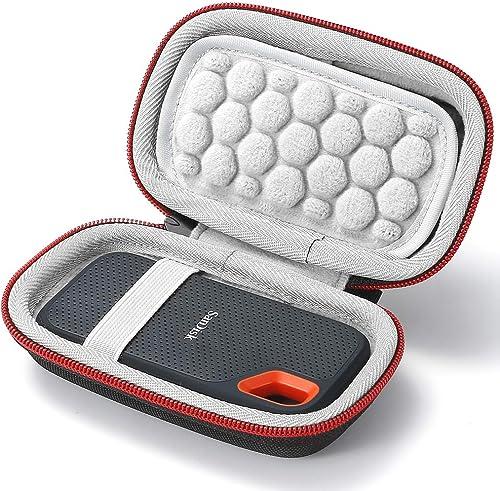 Coque Rigide pour SSD SDSSDE60 Extreme Portable SanDisk 250 Go / 500 Go / 1 to / 2 to Portable - Sac de Rangement - Noir