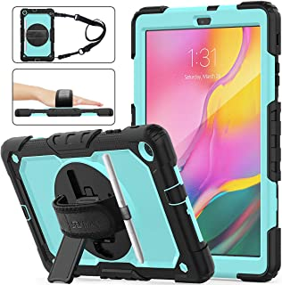 Samsung Galaxy Tab A 10.1 T510/T515 Case 2019, [Full-Body] & [Shock Proof] Hybrid Armor Protective Case with 360 Rotating Stand & Strap for Samsung Galaxy Tab A 10.1 T510/T515 2019 (SkyBlue+Black)