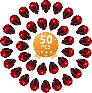 Red Teardrop Rhinestones 50 PCS 13x18 mm Flatback Rhinestones Sew on with Settings for Clothes Crafts Projects
