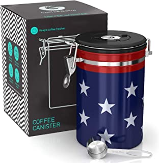 Coffee Gator Stainless Steel Container - Fresher Beans and Grounds for Longer - Canister with Date Tracker, CO2-Release Valve and Measuring Scoop - Large - USA Stars and Stripes Edition