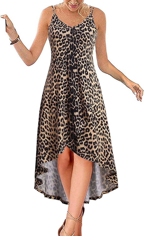 Yikomi Women's Deep V Neck Spaghetti Strap Dress Boho Casual Loose Long Maxi Dress