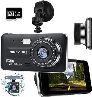 ドライブレコーダー 前後カメラ NINE CUBE 1080p HD 4 インチ画面 1年間保証(32GB SDカード付き)