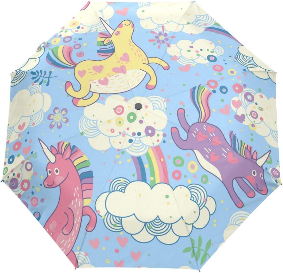 Wamika Cute Regular discount Rainbow Unicorn Atlanta Mall Compact Umbrella Auto Open
