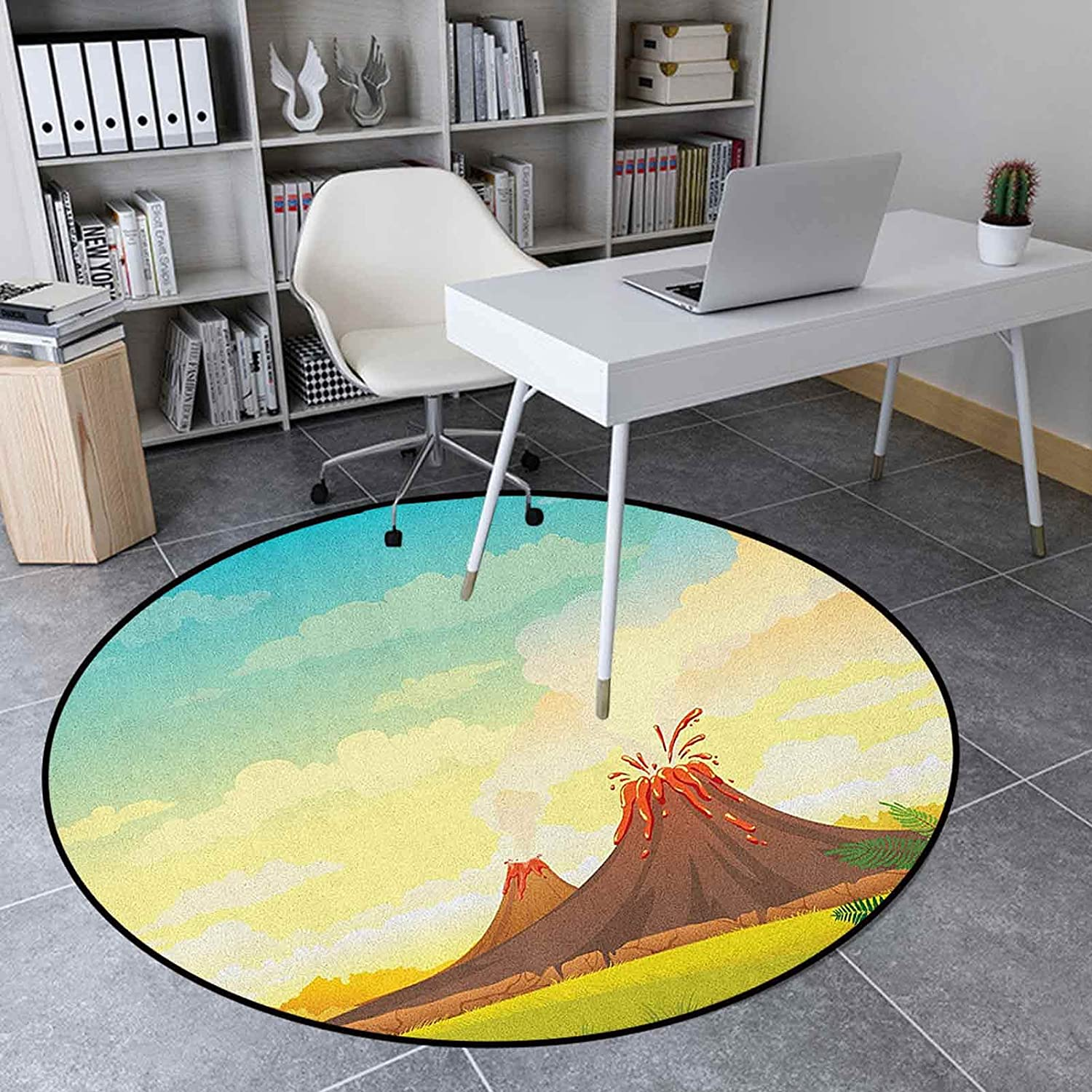 Volcano Round Rug 4.6' Ranking TOP9 Anti-Slip Livin Home Limited time for free shipping Decor for