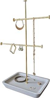 حامل مجوهرات بطبقتين من جازي، قرط وعقد وحامل سوار مع قاعدة إكسسوارات خرسانية
