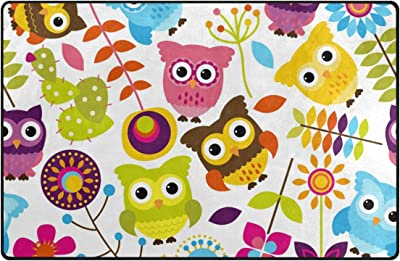 ABLINK Cute Anime Colourful Birds Living & Bedroom Non-slip & water uptake & Washable Cozy Shaggy durable Area Rug 60 x 39-inch
