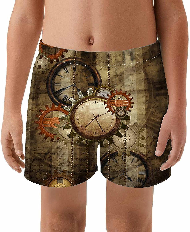 WONDERTIFY Steampunk Kids Swim Trunks Gears Limited Reservation price sale and Clocks Beautiful