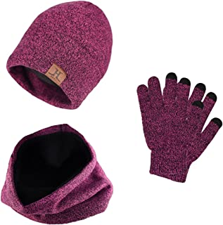YULOONG 3 PCS Winter Beanie Hat Scarf Gloves Set, Knitted Hat Scarf Touch Screen Gloves for Men Women