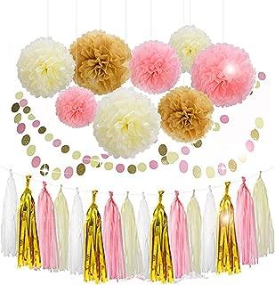 Lansian 30PCS Tissue Paper Pom Pom Flowers Pink White Gold Tassel Garland Banner for Wedding Bridal Birthday Graduation Baby Shower Decorations Party Supplies